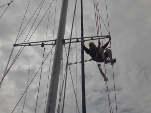 Clare Climbing the Rigging