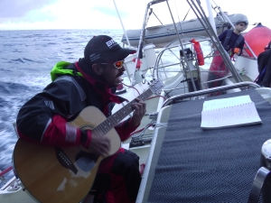 Seasick Jonny gets a new nickname. Not seasick anymore and playing the guitar
