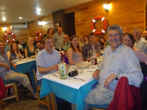 Start of trip meal. With honorary crew members Nicks parents.