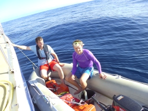 Jon and James. Jon preparing to dive under Elinca to check out the mysterious clanging noise.