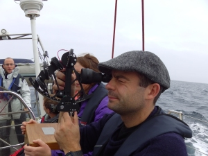 First astro nav lesson. Hold sextant correct way up. Shame there was no sun.