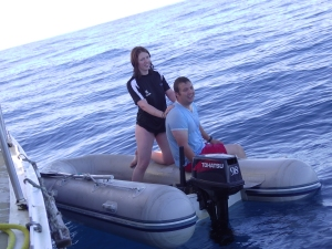 Clare and James after a morning swim. Jon's in the water... infact not many folk were on the boat.