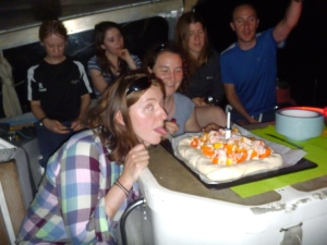 Clare's birthday. James says it wasn't a real cake as it had no icing or chocolate in it. Clare loved it: thanks guys!