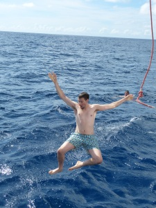 Nick (monkey) Higson remembers to let go of the rope before a close encounter with the boat.
