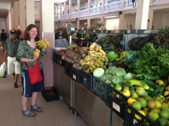 Clare in the fruit market in Cape Verdes. Very exciting and we spent hours here soaking up the smells (and buying some fruit of course).