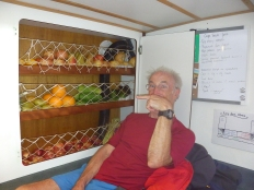 Our fruit cupboard on leaving Las Palmas. This was Norman and Heathers masterpiece and yes it all rolled out of place in the first swell.