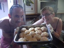 Freshly made bread... and two very proud bakers.