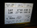 Not quite quick enough with the cameras but this is as close as we got to the moment we crossed the equator.