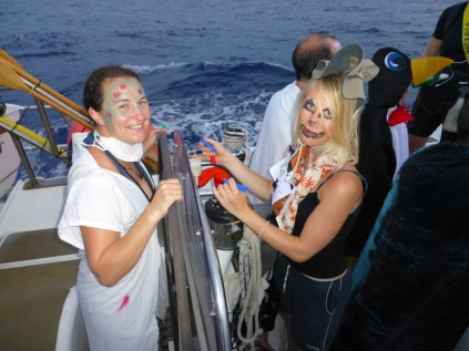 Halloween: yes the boat was still surging forward at 7-8 knots as we partied.
