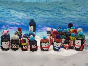 Penguins made by students at Sandfield Park school in aid of victims of the typhoon in the Philippines