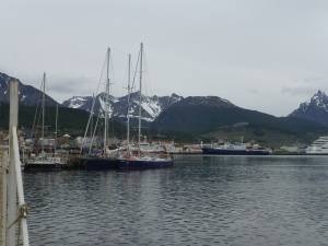 Elinca tied up to AFASyN Jetty in Ushuaia alongside some other big steel expedition yachts.