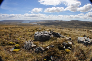 Falklands - 'digging in' shelter for British troops above Goose Green