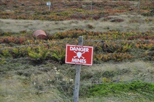 Falklands - the mine fields were both sides of the narrow road