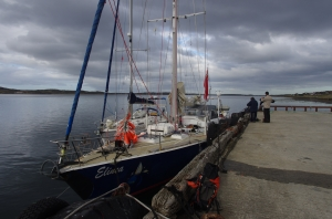 Falklands - Elinca moored at Stanley