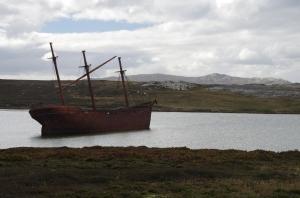 Falklands - wreck in Stanley Harbour