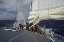A rare sight. Clare and James putting a reef in on the foredeck!