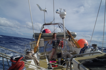 Clare drying out after large wave on the foredeck