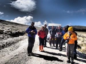 Falklands - the group survey the battlefield
