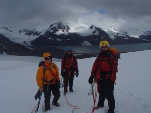 Clare, Sarah and Rachel on the glacier